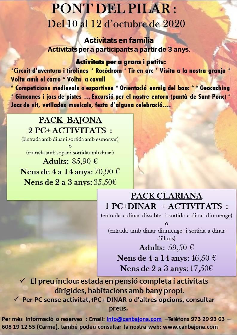 DEL 10 AL 12 D'OCTUBRE 2020 PONT DEL PILAR